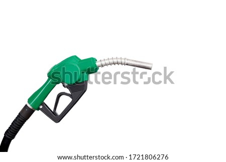 Gas nozzle with one last drop. Green gasoline nozzle on a white background. Refill and filling Oil Gas Fuel on white background. Gas station - refueling.To fill the machine with fuel.