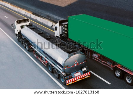 Gas or oil Truck on highway road container, transportation concept.,import,export logistic industrial Transporting Land transport on the expressway #1027813168