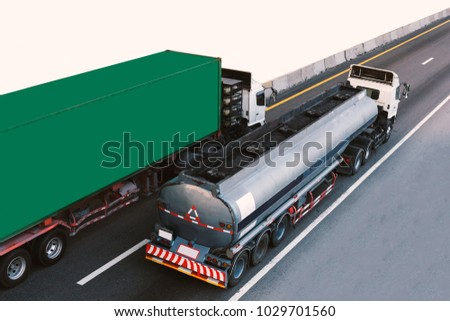 Gas or oil Truck on highway road container, transportation concept.,import,export logistic industrial Transporting Land transport on the expressway #1029701560