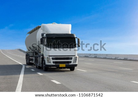 Gas or oil Truck on highway road container, transportation concept.,import,export logistic industrial Transporting Land transport on the asphalt expressway #1106871542