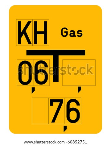 Gas pipe sign