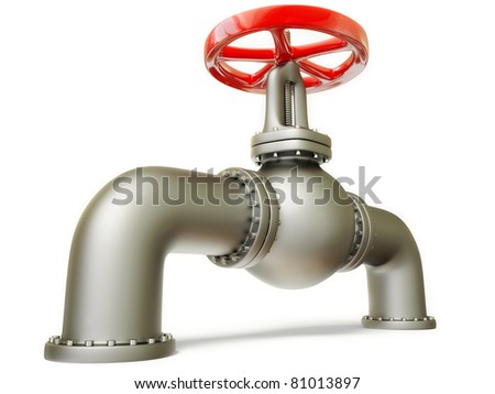 gas pipe with a red valve on white
