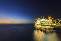 Gas platform or rig platform in sunset or sunrise time.