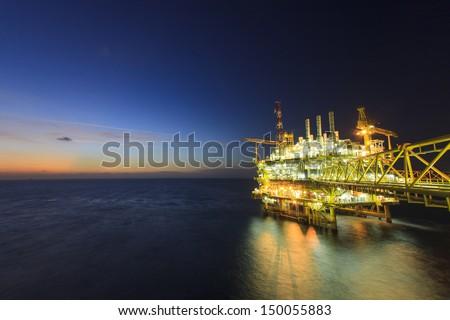 Gas platform or rig platform in sunset or sunrise time. #150055883