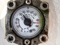 gas pressure meter on the cylinder