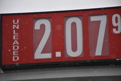 Gas price sign at a gas station