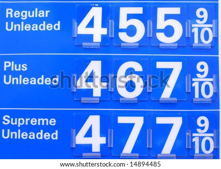 Gas prices sign reading prices pass $4.50 in the US