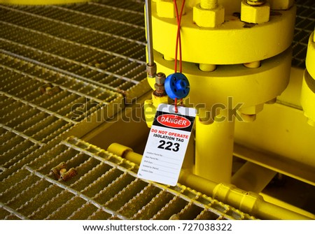 Gas process valve isolation lock out tag out,Lock closed,Lock open. Isolation tag.