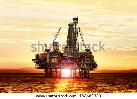 gas production on the sea at sunrise, platform Stockfoto ©