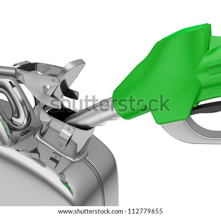 Gas pump nozzle and jerrycan on white background. 3d - stock photo