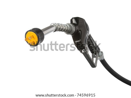gas pump nozzle with electric outlet