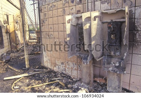 Gas station burned out during 1992 riots, South Central Los Angeles, California