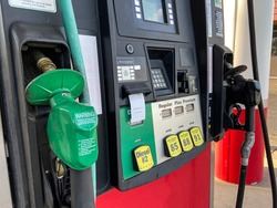 Gas station with diesel and unleaded pumps