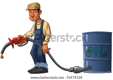 gas station worker with a pump without gas, just a drop