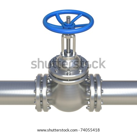 gas steel pipeline with valve isolated on white - 3d illustration