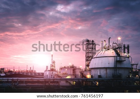 Gas storage sphere tank in Oil and gas refinery plant with sunset sky background #761456197