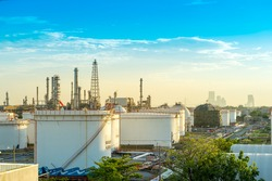 Gas storage tanks and oil tank in refinery industrial plant