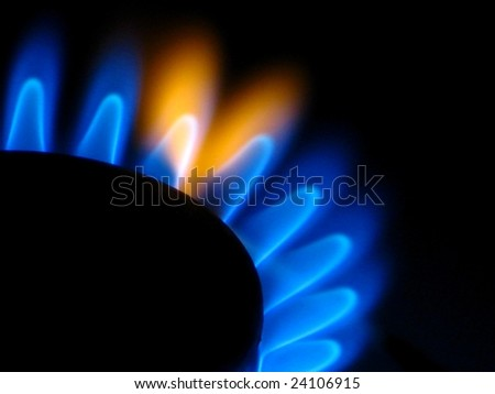 Gas stove flame - black background