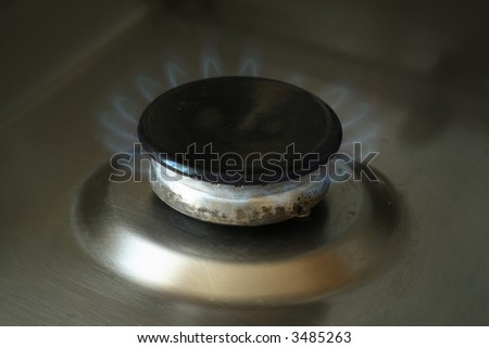 Gas-stove in the kitchen, natural lighting