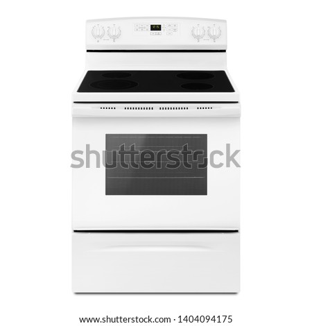 Gas Stove Isolated on White. Electric Convection Range with Warming Drawer. Front View of White Induction Range Cooker. Kitchen Stove with Four Burner Induction Cooktop. Kitchen and Domestic Appliance Сток-фото ©