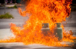 Gas tank is on fire danger for people in the area
