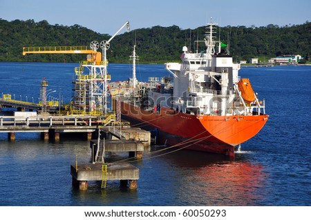 gas tanker for loading operation in the port