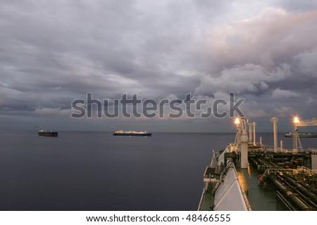 Gas tanker LNG near Gibraltar