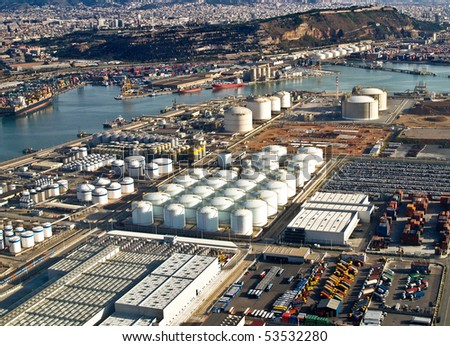 Gas tanks at the port of Barcelona, Spain, aerial view