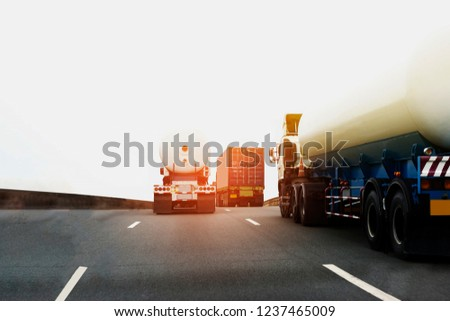 Gas Truck on highway road with tank oil  container, transportation concept.,import,export logistic industrial Transporting Land transport on the asphalt expressway  #1237465009