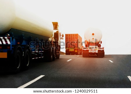Gas Truck on highway road with tank oil  container, transportation concept.,import,export logistic industrial Transporting Land transport on the asphalt expressway  #1240029511