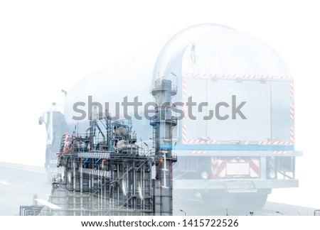 Gas Truck on highway road with tank oil  container, transportation concept.,import,export logistic industrial Transporting Land transport on the asphalt expressway.White background #1415722526