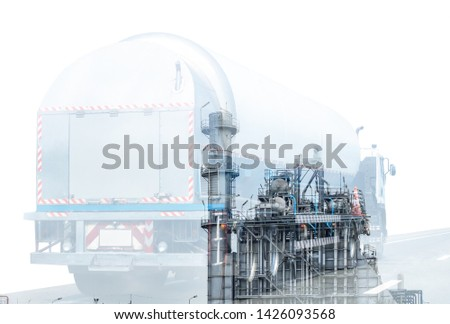 Gas Truck on highway road with tank oil  container, transportation concept.,import,export logistic industrial Transporting Land transport on the asphalt expressway.White background #1426093568