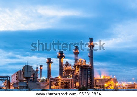 Gas turbine electric power plant at dust with blue hour #553315834