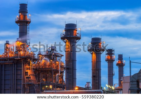 Gas turbine electrical power plant at dusk with blue hour.