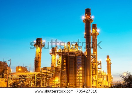 Gas turbine electrical power plant at dusk with twilight #785427310