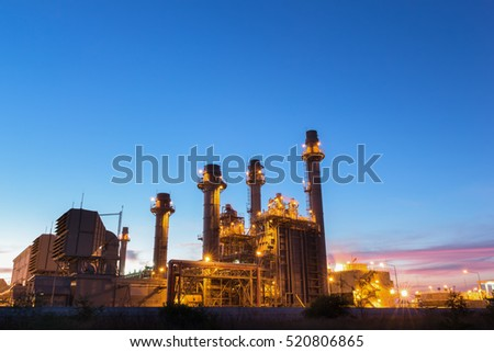 Gas turbine electrical power plant at dusk with twilight support all factory in industrial Estate  #520806865
