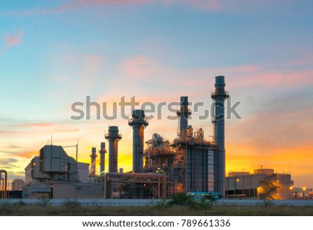 Gas turbine electrical power plant at dusk with twilight support all factory in industrial Estate #789661336