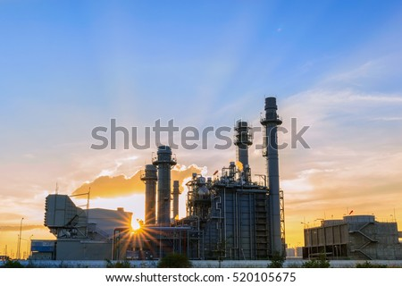 Gas turbine electrical power plant with twilight.