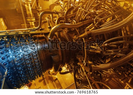 Gas turbine engine of feed gas compressor located inside pressurized enclosure, The gas turbine engine used in offshore oil and gas central processing platform. Technological ecological installation #769618765
