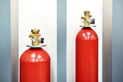 Gaseous fire suppression modules storage containers