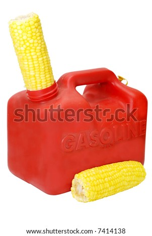 Gasoline can and corn to show energy concept.  Isolated on white background.