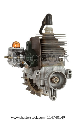 Gasoline-fueled internal combustion engine, isolated on white background