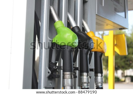 Gasoline hoses on the petrol column