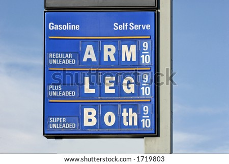 Gasoline prices : gas price sign with a humorous slant.