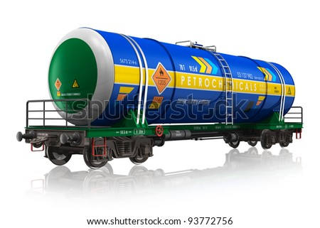 Gasoline railroad tank car isolated on white reflective background
