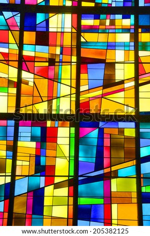 GASPE QUEBEC CANADA AUGUST 22: Modern stained glass window Christ Church Cathedral on august 22 2012 in Gaspe Quebec Canada #205382125