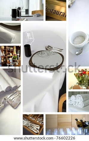 Gastronomy and luxury restaurant collage