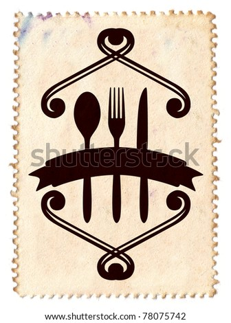 gastronomy shield with stamp background