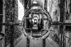 Gate and corridor of the hospital tract in the Eastern State Penitentiary, Philadelphia