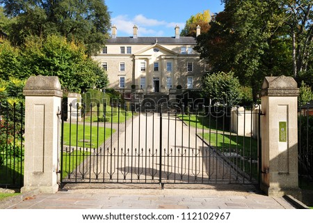 Gate and Driveway of a Georgian Era English Country Mansion